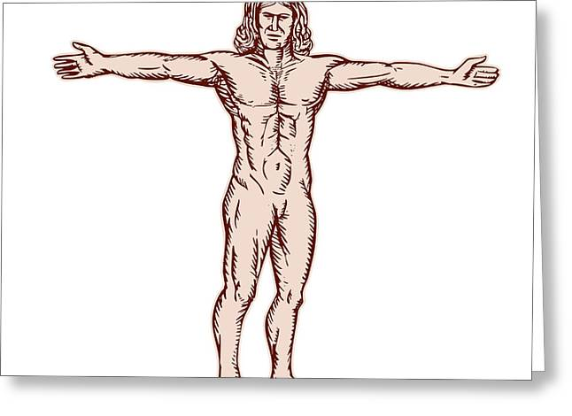 Etching Digital Greeting Cards - Vitruvian Man Arms Spread Front Etching Greeting Card by Aloysius Patrimonio