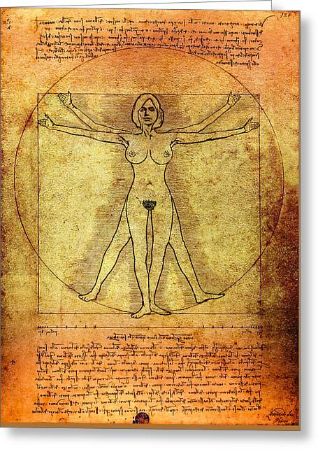Old Masters Mixed Media Greeting Cards - Vitruvian Woman Greeting Card by Daniel Hagerman