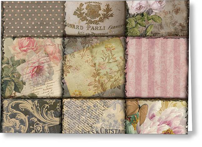 French Script Greeting Cards - Viva La France II Patchwork Greeting Card by Mindy Sommers