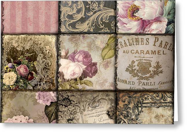 French Script Greeting Cards - Viva La France Patchwork Greeting Card by Mindy Sommers
