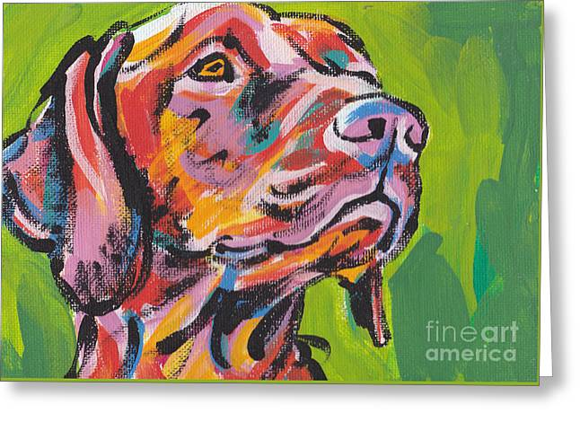 Puppies Paintings Greeting Cards - Viva La Vizsla Greeting Card by Lea