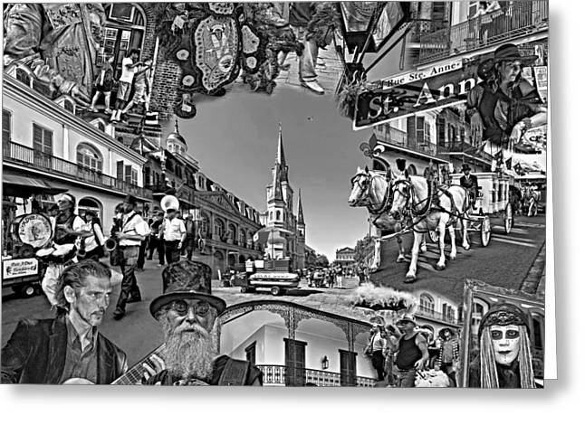 Mimes Greeting Cards - Vive les French Quarter monochrome Greeting Card by Steve Harrington