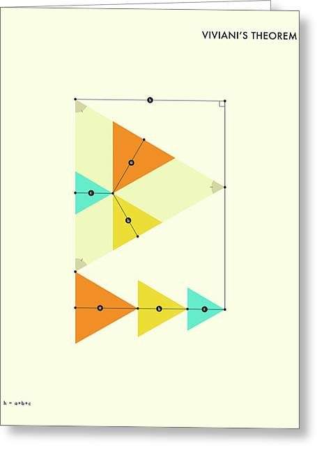 Geometric Art Greeting Cards - Vivianis Theorem Greeting Card by Jazzberry Blue