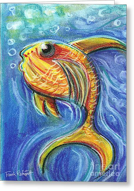 Sea Life Pastels Greeting Cards - Vivid Fish For Children Pastel Chalk Drawing Greeting Card by Frank Ramspott