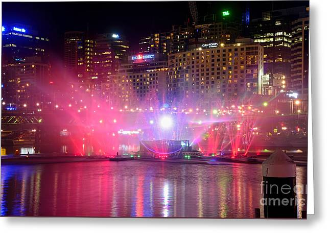 Water Display Greeting Cards - Vivid Sydney by Kaye Menner - Vivid Aquatique Pink and Blue Greeting Card by Kaye Menner