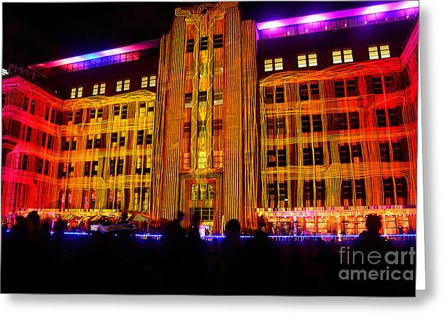 Red Buildings Greeting Cards - Vivid Sydney - Ropes by Kaye Menner Greeting Card by Kaye Menner