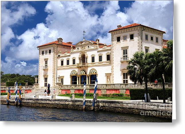 Biscayne Bay Greeting Cards - Vizcaya Museum and Gardens Biscayne Bay Miami Florida Greeting Card by Amy Cicconi