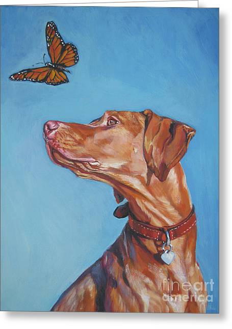 Vizsla And The Butterfly Greeting Card by Lee Ann Shepard