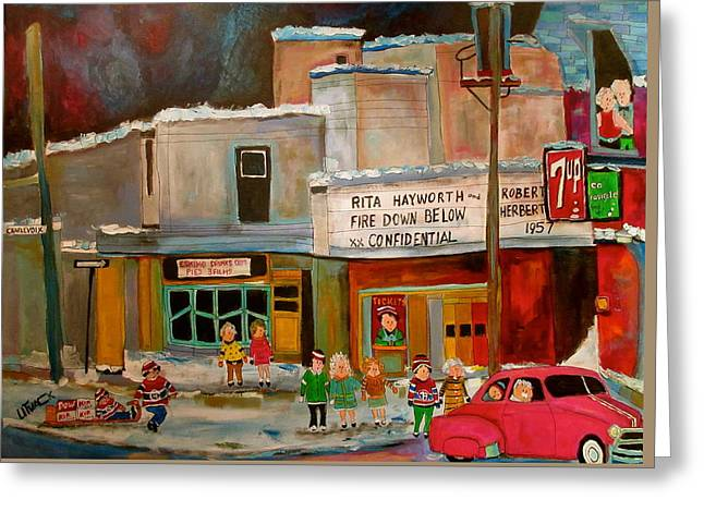 1952 Movies Greeting Cards - Vogue Theatre Montreal Memories Greeting Card by Michael Litvack