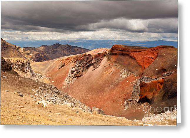 Geologically Greeting Cards - Volcanic landscape in Tonagriro NP New Zealand Greeting Card by Stephan Pietzko