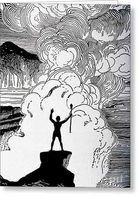 Island Cultural Art Greeting Cards - Volcanic Rage Greeting Card by Hawaiian Legacy Archive - Printscapes