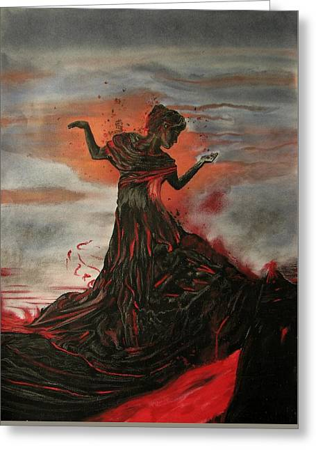 Conceited Greeting Cards - Volcano keeper Greeting Card by Melita Safran
