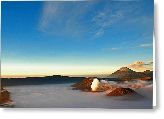 Digital Imaging Greeting Cards - Volcanoes Greeting Card by Mario Bennet