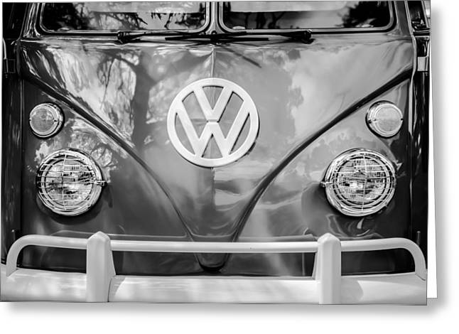 Famous Photographer Greeting Cards - Volkswagen VW Bus -0108bw Greeting Card by Jill Reger