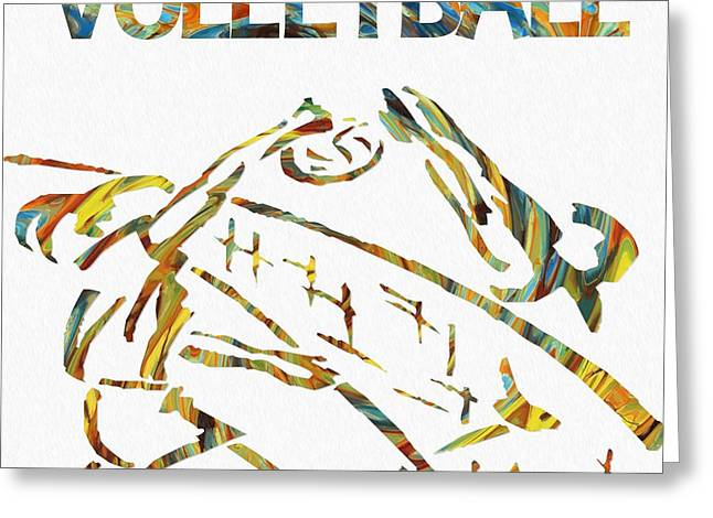 Volleyball Paint Poster Greeting Card by Dan Sproul