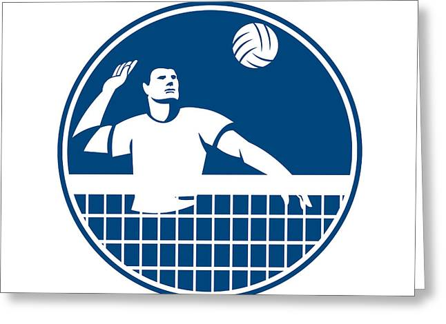 Volleyball Greeting Cards - Volleyball Player Spiking Ball Circle Icon Greeting Card by Aloysius Patrimonio