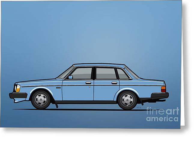 Volvo Brick 244 240 Sedan Brick Blue Greeting Card by Monkey Crisis On Mars