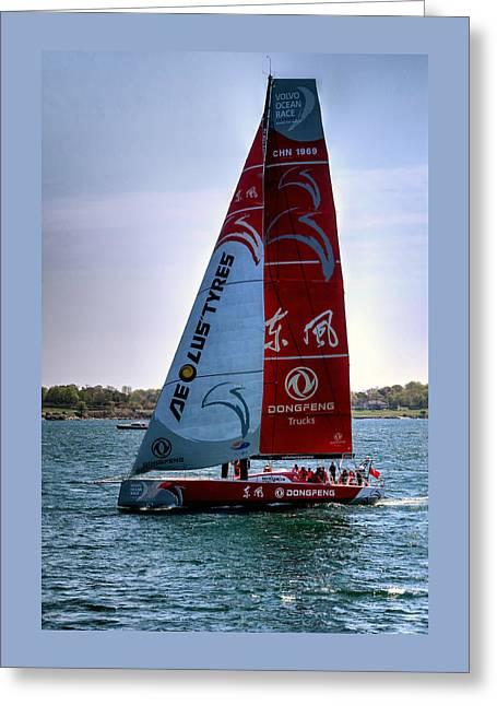 Ocean Sailing Greeting Cards - Volvo Ocean Race Dongfeng team Greeting Card by Tom Prendergast