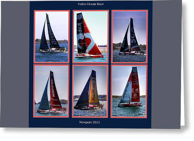 Blue Sailboats Greeting Cards - Volvo Ocean Race Newport 2015 Greeting Card by Tom Prendergast
