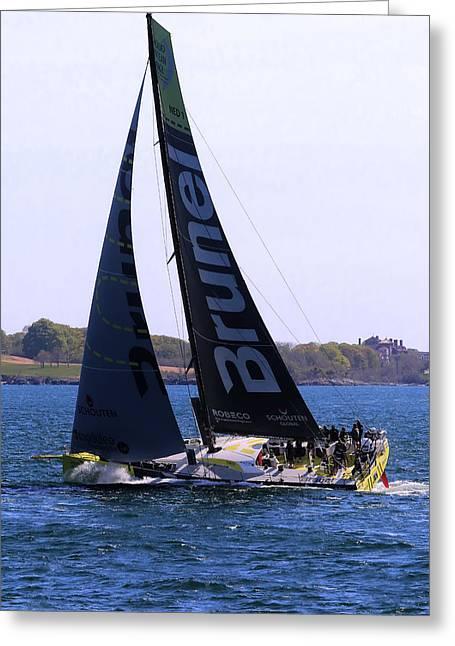 Ocean Sailing Greeting Cards - Volvo Ocean Race Team Brunel Greeting Card by Tom Prendergast