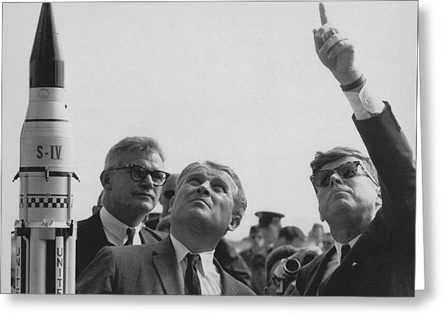 Von Braun And Jfk Looking Towards The Sky Greeting Card by War Is Hell Store
