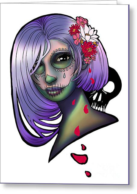 Flower Design Greeting Cards - Voodoo Greeting Card by Jasneet Samra