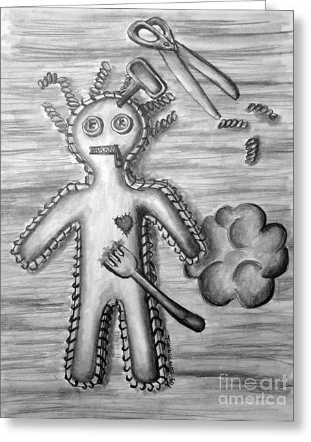 Scissors Drawings Greeting Cards - Voodoo Greeting Card by Tracy Glantz