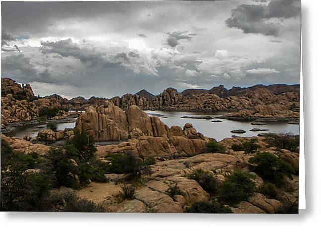 Watson Lake Greeting Cards - Vortex Of Water Clouds And Rock Greeting Card by A O Tucker