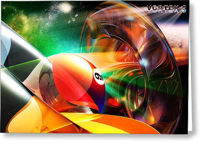 Abstract Digital Mixed Media Greeting Cards - Vortex9 Greeting Card by Draw Shots