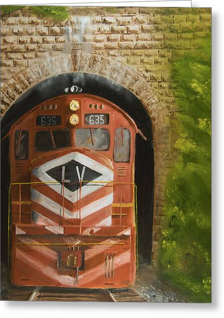 Diesel Locomotives Greeting Cards - Vosburg Tunnel Greeting Card by Christopher Jenkins