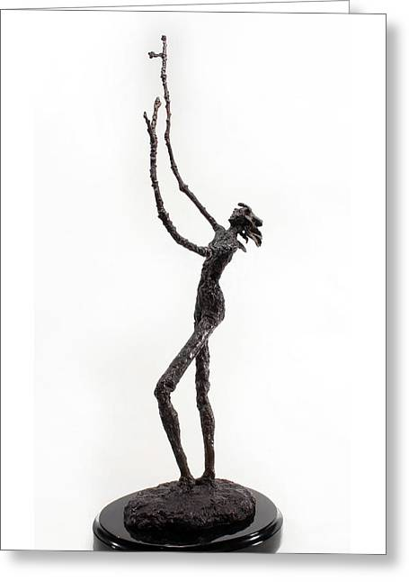 Fantasy Sculptures Greeting Cards - Votary of the Rain a sculpture by Adam Long Greeting Card by Adam Long