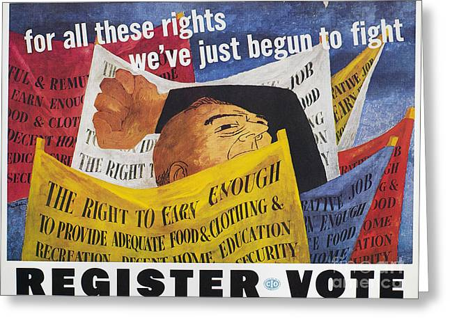 Democratic System Greeting Cards - Voter Registration Poster Greeting Card by Granger