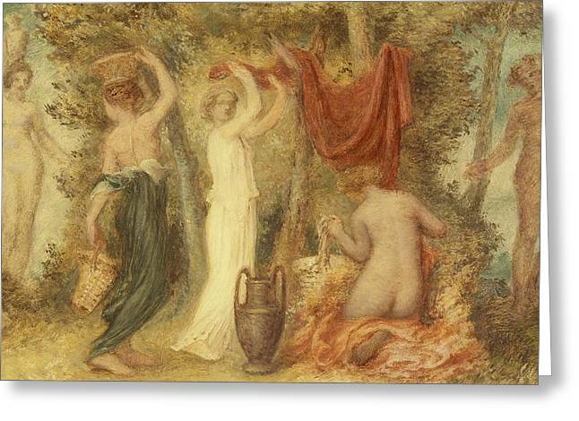 Votive Offerings   Classical Scene Greeting Card by Edward Calvert