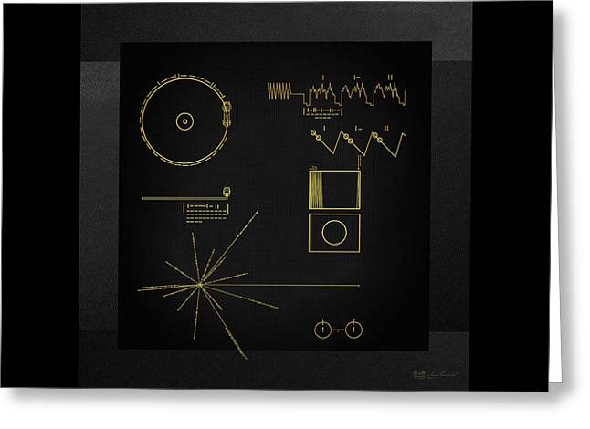Voyager Golden Record Cover On Black Canvas Greeting Card by Serge Averbukh