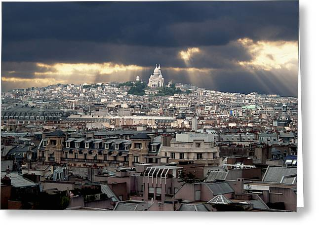 Vue de la Butte Montmartre.Roofs of Paris Greeting Card by BERNARD JAUBERT