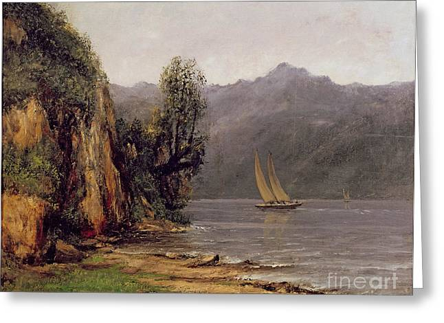 Sailing Ship Greeting Cards - Vue du Lac Leman Greeting Card by Gustave Courbet