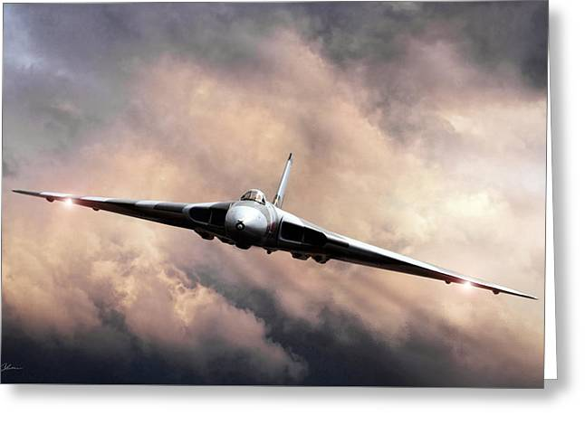 Jet Bomber Greeting Cards - Vulcan Farewell Greeting Card by Peter Chilelli