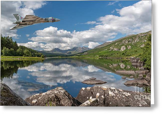 Canoe Greeting Cards - Vulcan Over Lake Greeting Card by Adrian Evans