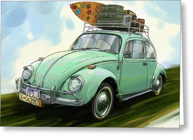 Recently Sold -  - Ventura California Greeting Cards - VW Beach Bug Greeting Card by RG McMahon
