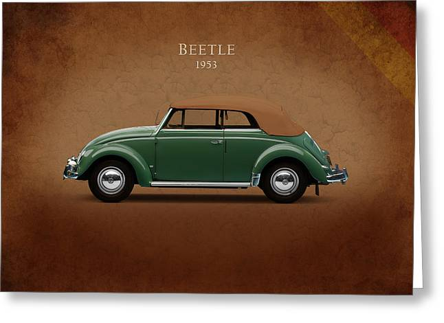 Volkswagen Beetle Greeting Cards - VW Beetle 1953 Greeting Card by Mark Rogan