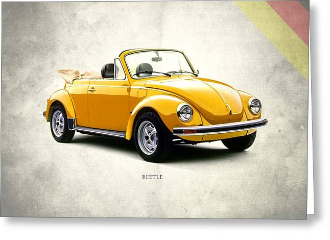 Volkswagen Beetle Greeting Cards - VW Beetle 1972 Greeting Card by Mark Rogan