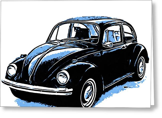 Design Drawings Greeting Cards - VW Beetle Graphic Greeting Card by Edward Fielding