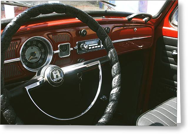 Speedometer Greeting Cards - VW Beetle Interior Greeting Card by Nomad Art And  Design