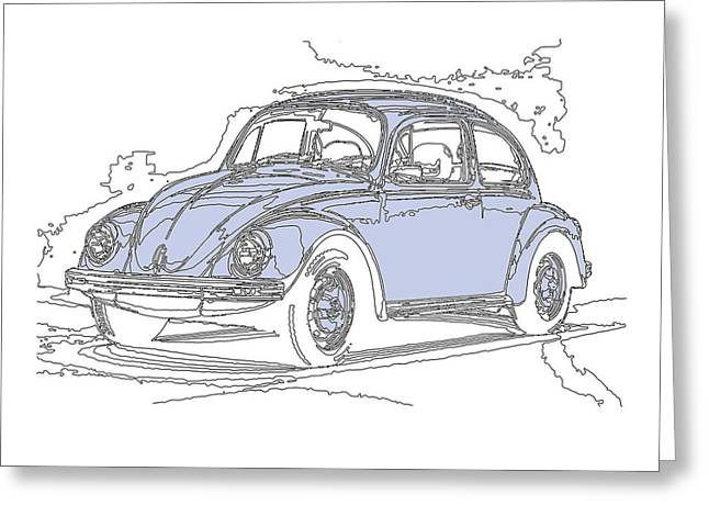 Conversing Mixed Media Greeting Cards - VW Beetle Greeting Card by Michael Lax