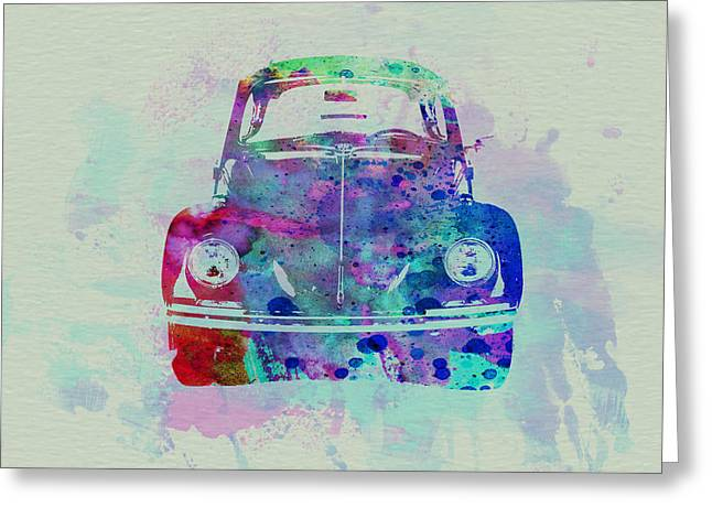 Cylinder Greeting Cards - VW Beetle Watercolor 2 Greeting Card by Naxart Studio