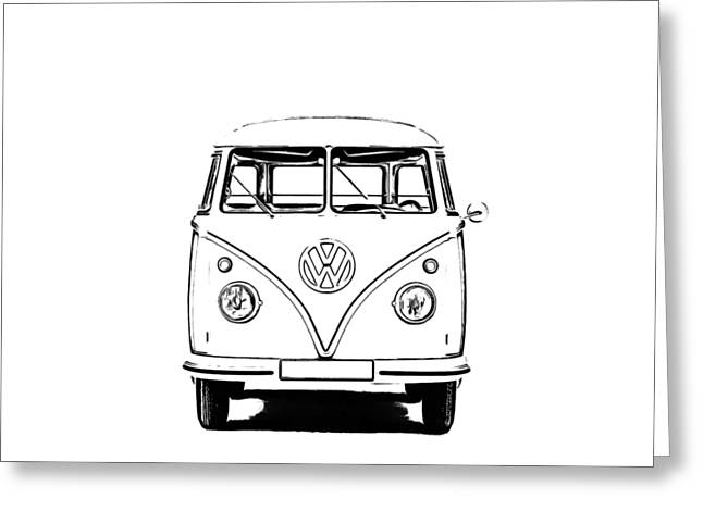 Design Drawings Greeting Cards - VW Bus T-shirt Greeting Card by Edward Fielding