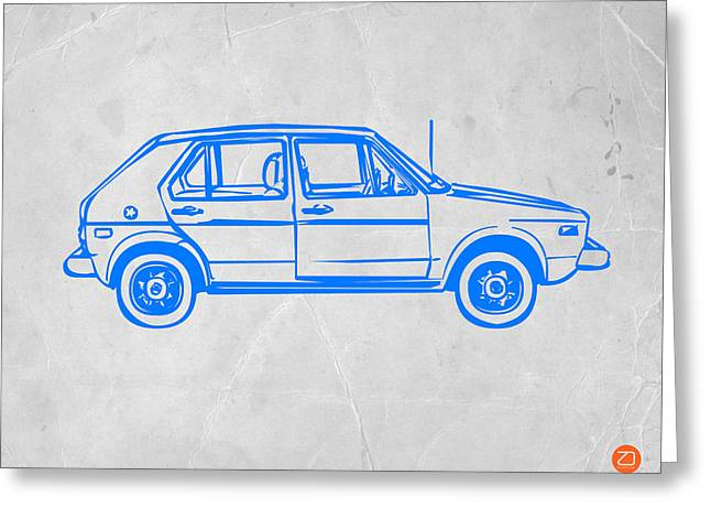Modernism Greeting Cards - VW Golf Greeting Card by Naxart Studio