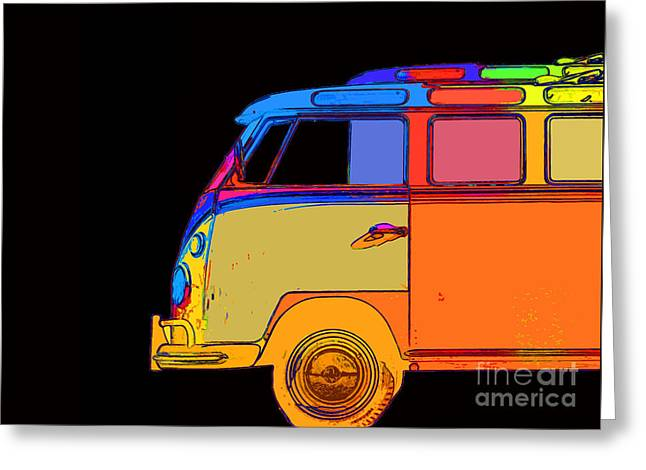Vw Surfer Bus Square Greeting Card by Edward Fielding