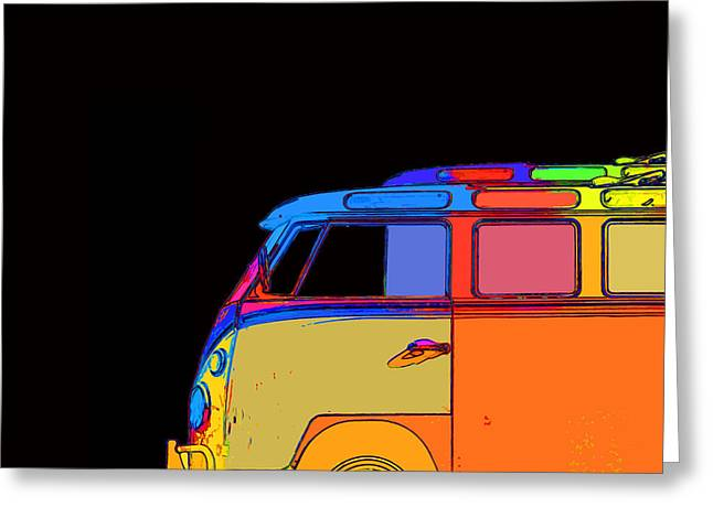 Surfing Art Greeting Cards - VW Surfer Bus Square Greeting Card by Edward Fielding