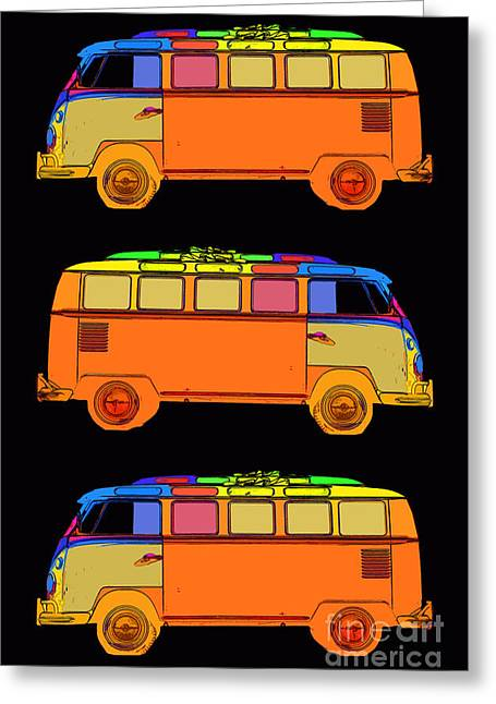 Surfer Art Greeting Cards - VW Surfer Van 3X Greeting Card by Edward Fielding